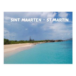 Postal Sint Maarten - escena de la playa de San Martín