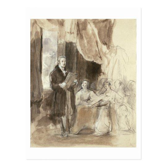 Postal Sir Robert Peel que lee a la reina Victoria