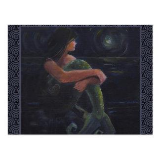 Postal Sirena y la luna