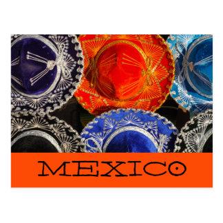 Postal Sombreros mexicanos coloridos