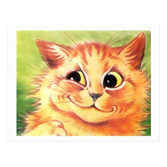 Postal sonriente del gato de Louis Wain del