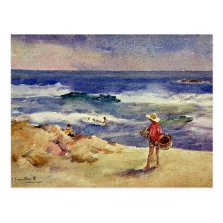 Postal Sorolla - muchacho en la arena