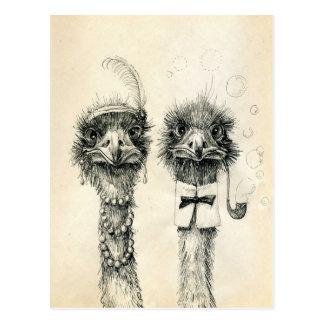 Postal Sr. y señora Ostrich