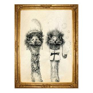Postal Sr. y señora Ostrich enmarcada