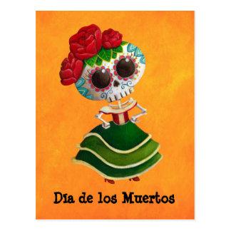 Postal Srta. muerte de Dia de Muertos mexican