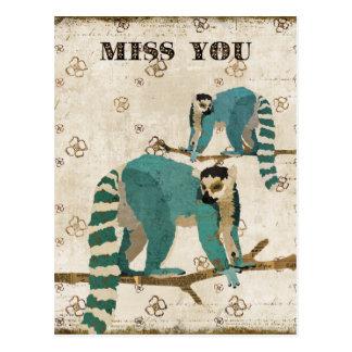 Postal Srta. You Azure Lemurs Postcard
