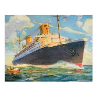 Postal SS Bremen en el mar