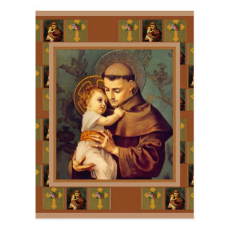 Postal St Anthony de Padua con el bebé Jesús