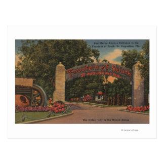 Postal St Augustine, FL - fuente de la entrada de la
