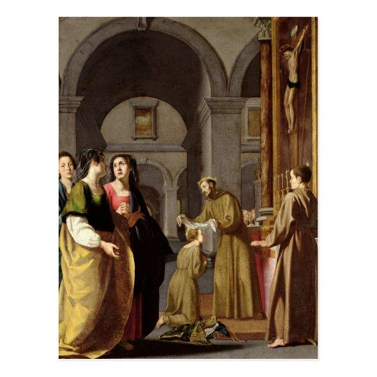 Postal St. Clare que recibe el velo de St Francis