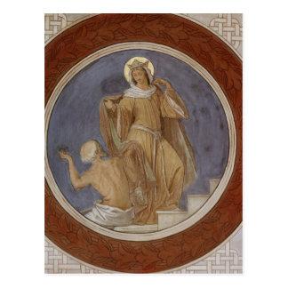 Postal St. Elisabeth que da su capa a un mendigo