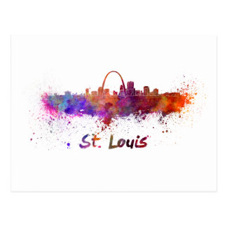 Postal St Louis skyline in watercolor