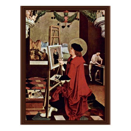 Postal St Luke que pinta las alas del altar de Madonna
