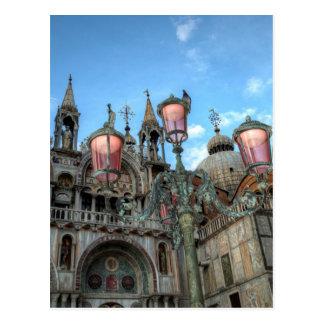 Postal St. Marcas y lámpara, Venecia, Italia