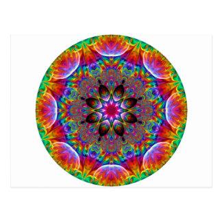 Postal Starburst floral caleidoscópico multicolor