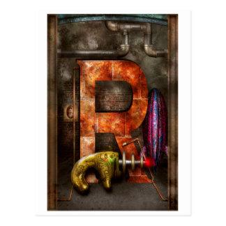Postal Steampunk - alfabeto - R está para el arma de rayo