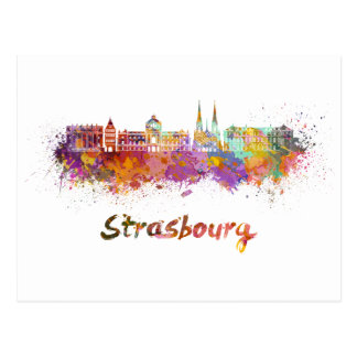 Postal Strasbourg skyline in watercolor