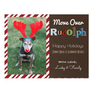 Postal Su reno del navidad de los perros