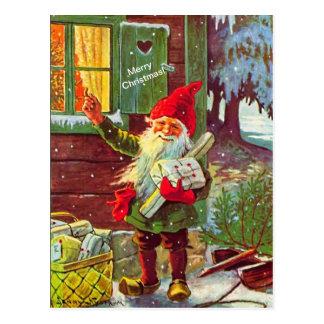 Postal sueca de Tomte del gnomo del duende del