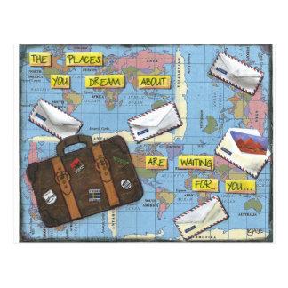 Postal Sueño con el viaje - ilustraciones de las técnicas