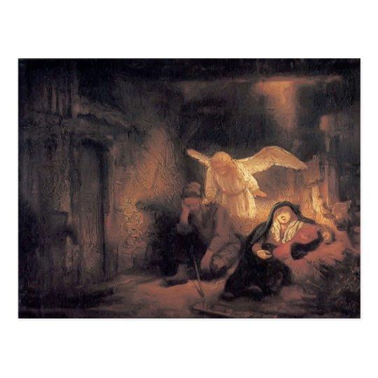 Postal Sueño de Rembrandt José en establo en Belén