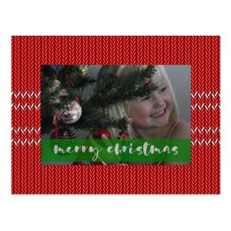 Postal Suéter del rojo de las Felices Navidad