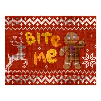 Postal Suéter feo del navidad: Muérdame hombre de pan de