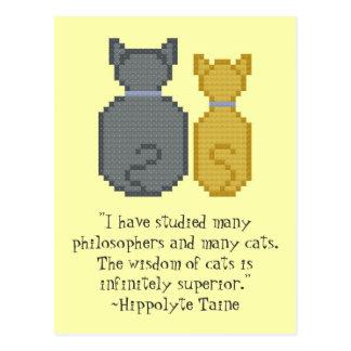 Postal superior de la cita de los gatos de Hippoly