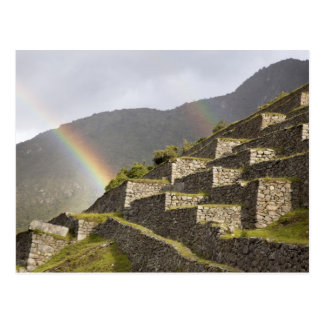 Postal Suramérica, Perú, Machu Picchu. Arco iris encima