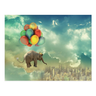 Postal surrealista del elefante del globo