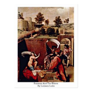 Postal Susana y las ancianos de Lorenzo Lotto