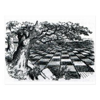 Postal Tablero de ajedrez en el país de las maravillas