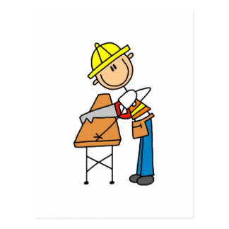 Postal Tablero del Sawing del trabajador de construcción