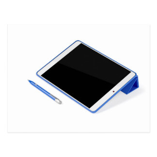 Postal Tableta en soporte y pluma digital