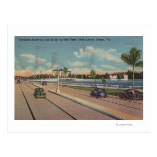 Postal Tampa, FL - vista del bulevar de Bayshore, puente