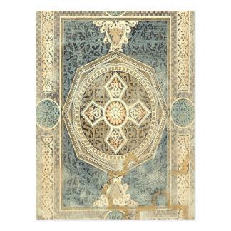 Postal Tapicería ornamental con diseño geométrico
