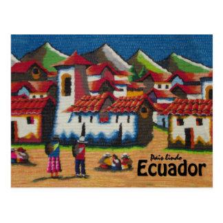 Postal Tapicería típica de Ecuador Otavalo
