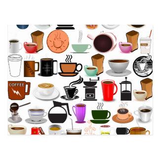 Postal Tazas de café (añada el color de fondo)