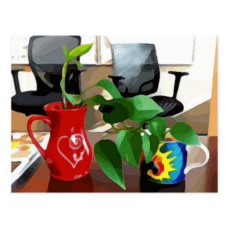 Postal Tazas y plantas de café