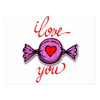 Postal Te amo (caramelo rosado)
