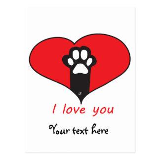 "Postal ""Te amo"" huella del gato"