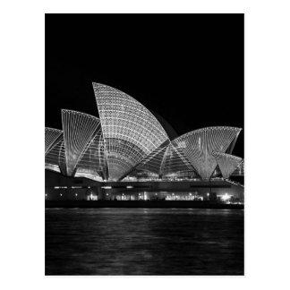 Postal Teatro de la ópera de Sydney en la noche Australia