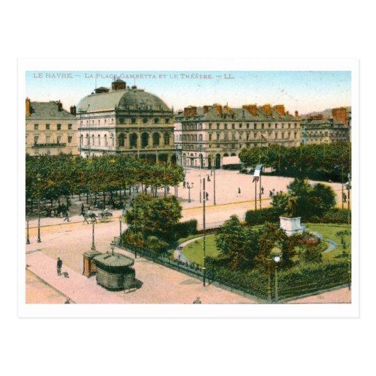 Postal Teatro, lugar de Gambetta, vintage de Le Havre,