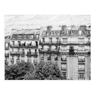 Postal Tejados de París en blanco y negro