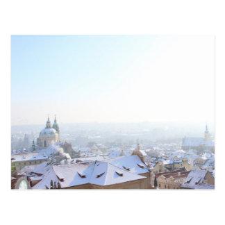 Postal Tejados del invierno de Praga
