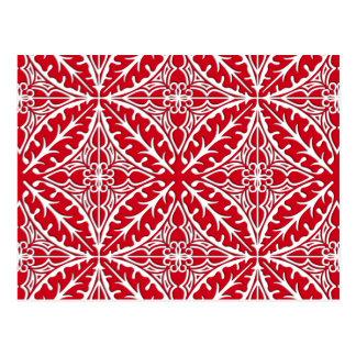 Postal Tejas marroquíes - rojo oscuro y blancas