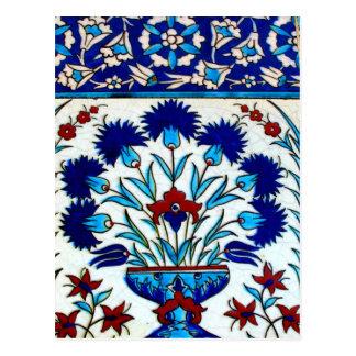 Postal Tejas turcas abstractas florales antiguas del
