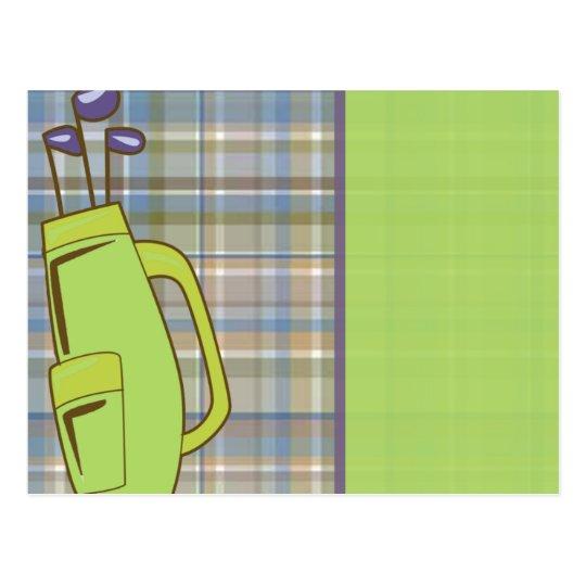 Postal tela escocesa del golf con el bolso