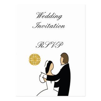 Postal Tema escocés y céltico del boda de los pares
