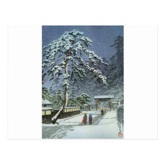 Postal Templo de Honmonji en la nieve - 川瀬巴水 de Kawase